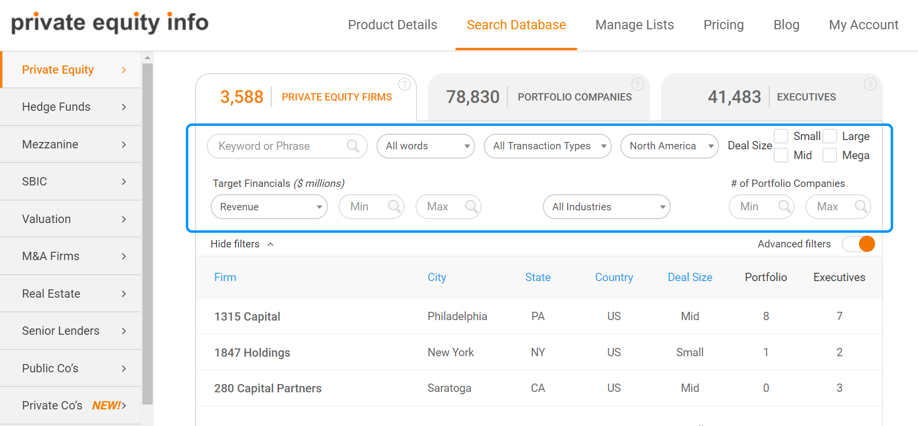 Private Equity Advanced Search Filters