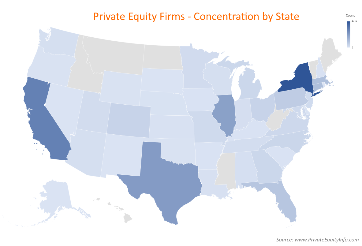 Private Equity Firms - Concentration by State
