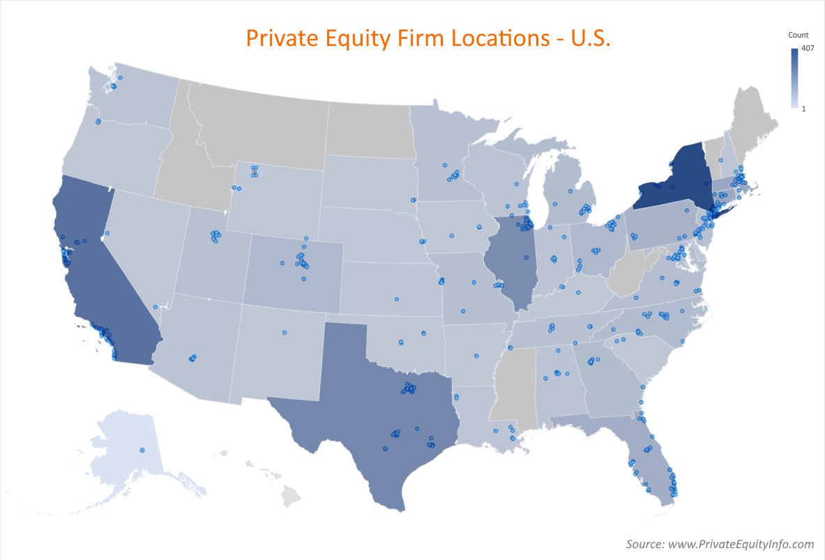 Private Equity Firm Locations - U.S.